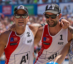 01.08.2015, Strandbad, Klagenfurt, AUT, A1 Beachvolleyball EM 2015, Achtelfinale Herren, im Bild // during last sixteen Men, of the A1 Beachvolleyball European Championship at the Strandbad Klagenfurt, Austria on 2015/87/01. EXPA Pictures © 2015, EXPA Pictures © 2015, PhotoCredit: EXPA/ Mag. Gert Steinthaler