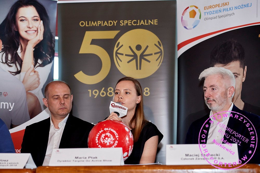 Warsaw, Poland - 2018 May 10: (C) Maria Ptak &quot;Go &amp; Active Show&quot; Meneger Special Olympics Press Conference at Marriott Champions Sport Bar on May 10, 2018 in Warsaw, Poland.<br /> <br /> Adam Nurkiewicz declares that he has no rights to the image of people at the photographs of his authorship.<br /> <br /> Picture also available in RAW (NEF) or TIFF format on special request.<br /> <br /> Any editorial, commercial or promotional use requires written permission from the author of image.<br /> <br /> Image can be used in the press when the method of use and the signature does not hurt people on the picture.<br /> <br /> Mandatory credit:<br /> Photo by &copy; Adam Nurkiewicz / Mediasport