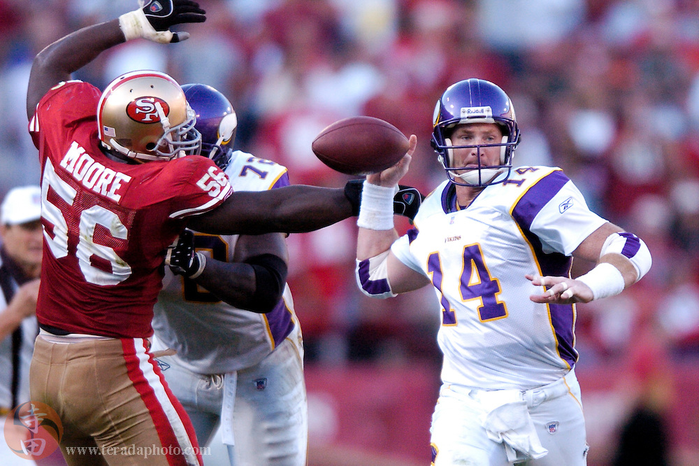 Nov 5, 2006 San Francisco, CA, USA: Minnesota Vikings quarterback Brad Johnson (14) fumbles the football during the second half against the San Francisco 49ers at Monster Park. The 49ers defeated the Vikings 9-3.