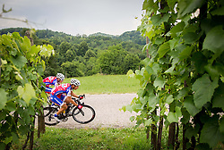 Tomaz Nose and Pavel Gorenc during Slovenian Road Cyling Championship 2013 on June 23, 2013 in Gabrje, Slovenia. (Photo by Vid Ponikvar / Sportida.com)