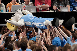 "CHAPEL HILL, NC - FEBRUARY 27: ""Ramses"" mascot of the North Carolina Tar Heels surfs the crowd while playing the Maryland Terrapins on February 27, 2011 at the Dean E. Smith Center in Chapel Hill, North Carolina. North Carolina won 76-87. (Photo by Peyton Williams/UNC/Getty Images) *** Local Caption *** Ramses"