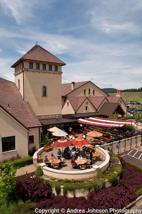 Lunch on the patio at King Esate Winery, near Lorane, Willamette Valley, Oregon