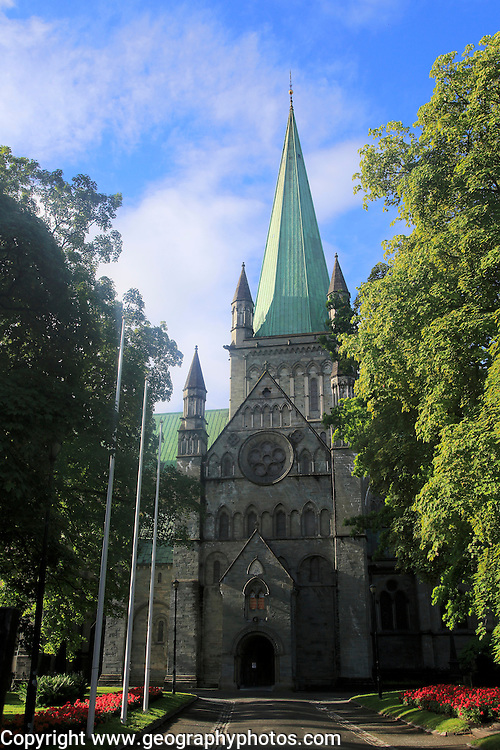 Early morning sunshine on historic cathedral spire, Nidaros Domkirke, Trondheim, Norway