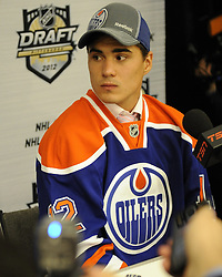 Nail Yakupov of the Sarnia Sting was the first overall pick of the Edmonton Oilers in the 2012 NHL Entry Draft in Pittsburgh, PA on Friday June 22. Photo by Aaron Bell/CHL Images