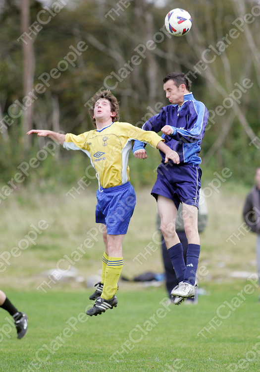 Rock Rovers Ashley Glynn and Newtown's Gearoid Magee in action in thier meeting in Lees Road on Sunday. Pic. Brian Arthur/ Press 22.