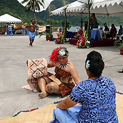 A niu, siapo, and more coming are presented traditionally at the STP/TriMarine Cannery Innauguration ceremonies and festivities, Satala, Tutuila, American Samoa. 1/24/15,  Photo by Barry Markowitz.