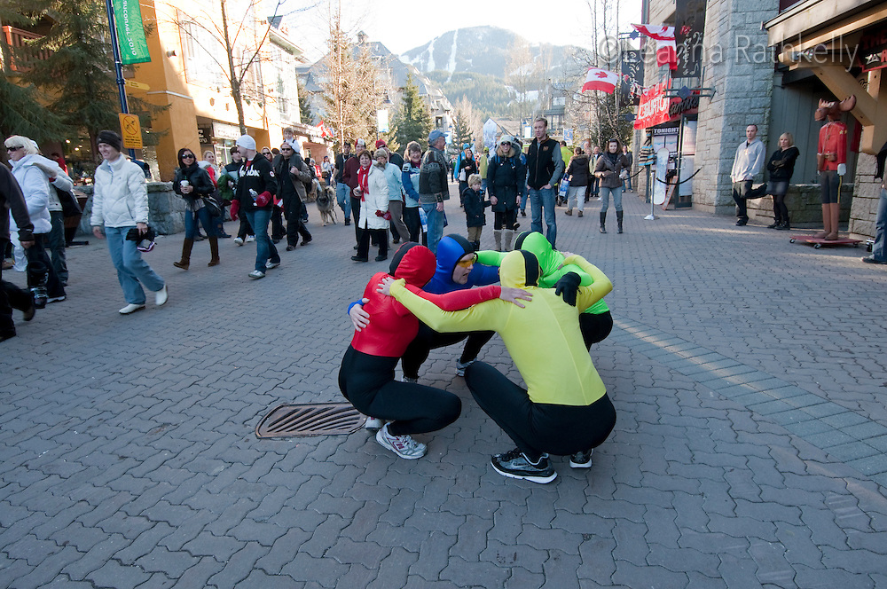 A theatresports company entertains visitors with renditions of olympic sports during the 2010 Olympic Winter games in Whistler, BC Canada.