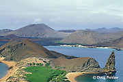 Bartolome in the foreground and James or Santiago Island behind, Galapagos Islands, Ecuador, ( Eastern Pacific Ocean )