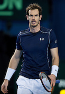 Andy Murray of Great Britain during the Davis Cup match by BNP Paribas between Great Britain and Japan at the National Indoor Arena, Birmingham.<br /> Picture by Russell Hart/Focus Images Ltd 07791 688 420<br /> 06/03/2016
