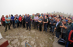 Pilgrims attend mass at the summit of Croagh Patrick for the annual pilgrimage that took place yesterday.<br /> Pic Conor McKeown