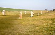 Lines of standing sarsen stones form the Avenue, Avebury World Heritage site, Wiltshire, England, UK