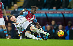 BIRMINGHAM, ENGLAND - Tuesday, March 1, 2016: Everton's Ross Barkley is tackled by Aston Villa's Idrissa Gueye during the Premier League match at Villa Park. (Pic by David Rawcliffe/Propaganda)