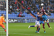 Headed clear during the EFL Sky Bet League 1 match between Oldham Athletic and Scunthorpe United at Boundary Park, Oldham, England on 28 October 2017. Photo by George Franks.