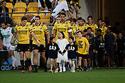 Hurricanes Beauden Barrett leads out the Hurricanes with children from the muslim community during the Hurricanes vs Stormers Super Rugby match at Westpac Stadium in Wellington on Saturday the 23rd of March 2019. Copyright Photo by Marty Melville / www.Photosport.nz