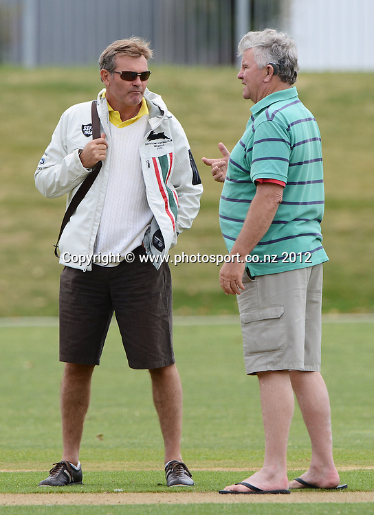 Martin Crowe and Lance Cairns. Plunket Shield Cricket, Auckland Aces v Wellington Firebirds at Eden Park Outer Oval. Auckland on Monday 26 November 2012. Photo: Andrew Cornaga/Photosport.co.nz
