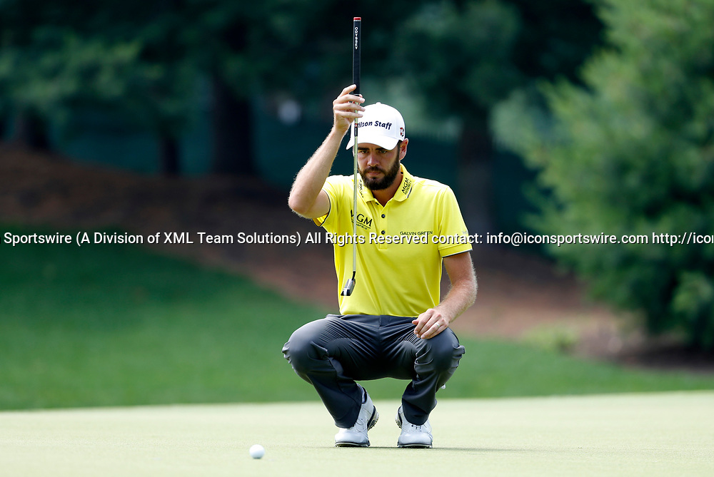 CROMWELL, CT - JUNE 23: Troy Merritt lines up his putt on 8 during the second round of the Travelers Championship on June 23, 2017, at TPC River Highlands in Cromwell, Connecticut. (Photo by Fred Kfoury III/Icon Sportswire)