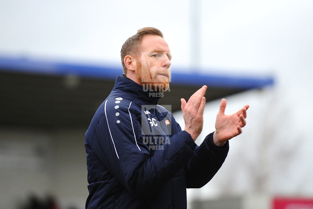 TELFORD COPYRIGHT MIKE SHERIDAN Gavin Cowan  during the Vanarama Conference North fixture between AFC Telford United and Darlington at The New Bucks Head on Saturday, March 7, 2020.<br /> <br /> Picture credit: Mike Sheridan/Ultrapress<br /> <br /> MS201920-049