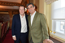Left to right, TOM PARKER BOWLES and chef BRUNO LOUBET at a lunch hosted by Fortnum & Mason, Piccadilly, London on 29th January 2015 in honour of Marco Pierre White and the publication of White Heat 25.