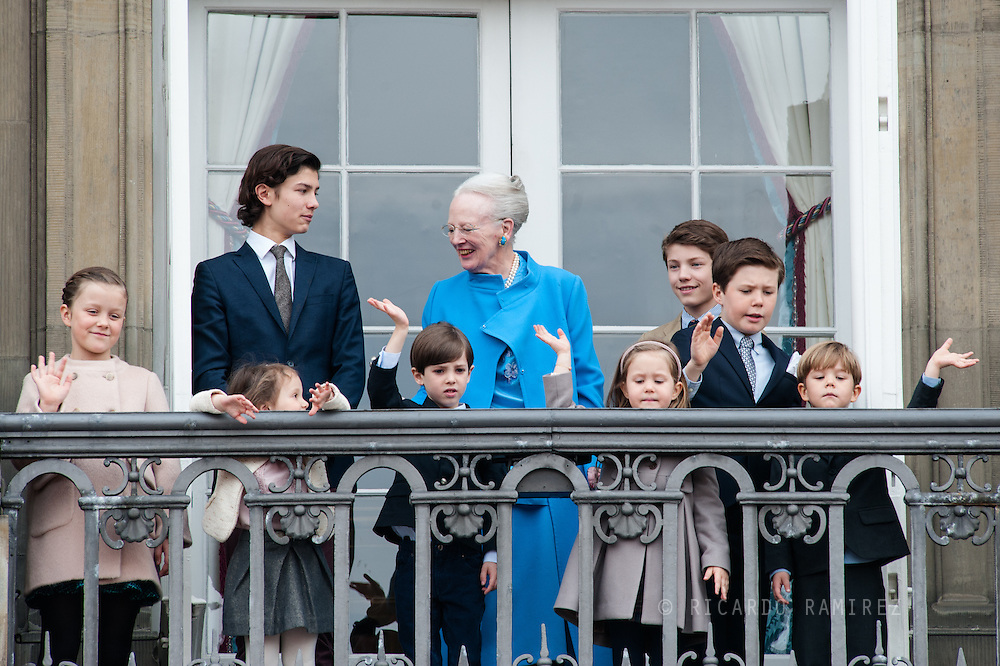 16.04.2016. Copenhagen, Denmark.<br /> Prince Nikolai, Queen Margrethe II,  Prince Felix, Princess Isabella, Princess Athena, Prince Henrik, Princess Josephine, Prince Christian and  Prince Vincent appear on the Balcony of Amalienborg Palace on The 76th Birthday of Queen Margrethe II of Denmark<br /> Photo:© Ricardo Ramirez