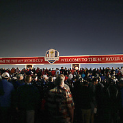 Ryder Cup 2016. Day One. Spectators queue at the entrance to  Hazeltine National Golf Club just after 6am for the start of the Ryder Cup at the Hazeltine National Golf Club on September 30, 2016 in Chaska, Minnesota.  (Photo by Tim Clayton/Corbis via Getty Images)