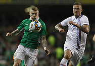 James McClean of Republic of Ireland and Ragnar Sigurdsson of Iceland during the International Friendly match at the Aviva Stadium, Dublin<br /> Picture by Lorraine O'Sullivan/Focus Images Ltd +353 872341584<br /> 28/03/2017