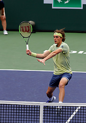 March 10, 2018 - Indian Wells, CA, U.S. - INDIAN WELLS, CA - MARCH 10: Stefanos Tsitsipas ( GRE ) hits a volley during the second round of the BNP Paribas Open on March 10, 2018, at the Indian Wells Tennis Gardens in Indian Wells, CA. (Photo by Adam  Davis/Icon Sportswire) (Credit Image: © Adam Davis/Icon SMI via ZUMA Press)