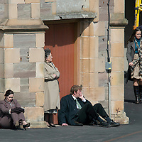 Filming of The Railway Man on Perth Railway Station....01.05.12<br /> Extras take a break from filming <br /> Picture by Graeme Hart.<br /> Copyright Perthshire Picture Agency<br /> Tel: 01738 623350  Mobile: 07990 594431