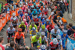 Peloton with Julian Alaphilippe (FRA) of Deceuninck - Quick Step (BEL,WT,Specialized) during the 2nd lap on Mur de Huy at 2019 La Fl&egrave;che Wallonne (1.UWT) with 195 km racing from Ans to Mur de Huy, Belgium. 24th April 2019. Picture: Pim Nijland | Peloton Photos<br /> <br /> All photos usage must carry mandatory copyright credit (Peloton Photos | Pim Nijland)