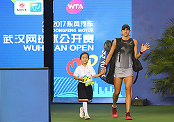WUHAN, Sept. 27, 2017 Caroline Garcia of France walks into the court ahead of the singles third round match against Dominika Cibulkova of Slovakia at 2017 WTA Wuhan Open in Wuhan, capital of central China's Hubei Province, on Sept. 27, 2017. Caroline Garcia won 2-0.  wdz) (Credit Image: © Cheng Min/Xinhua via ZUMA Wire)