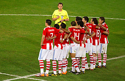Team of Paraguay during the penalty shots after 0-0 in overtime during the 2010 FIFA World Cup South Africa Round of Sixteen football match between Paraguay and Japan on June 29, 2010 at Loftus Versfeld Stadium in Tshwane/Pretoria. (Photo by Vid Ponikvar / Sportida)