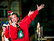 """23 DECEMBER 2018 - CHANTABURI, THAILAND: The Christmas show at the Cathedral of the Immaculate Conception's Christmas Fair in Chantaburi. Cathedral of the Immaculate Conception is holding its annual Christmas festival, this year called """"Sweet Christmas @ Chantaburi 2018"""". The Cathedral is the largest Catholic church in Thailand and was founded more than 300 years ago by Vietnamese Catholics who settled in Thailand, then Siam.   PHOTO BY JACK KURTZ"""