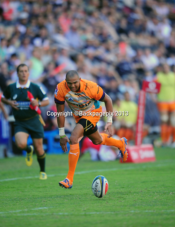 Cornal Hendricks of the Cheetahs during the 2014 Super Rugby Sharks match between Sharks and Cheetahs at the Kings Parks Stadium in Durban , Kwa-Zulu Natal on the 19th of April 2014<br /> <br /> &copy;Sabelo Mngoma/BackpagePix