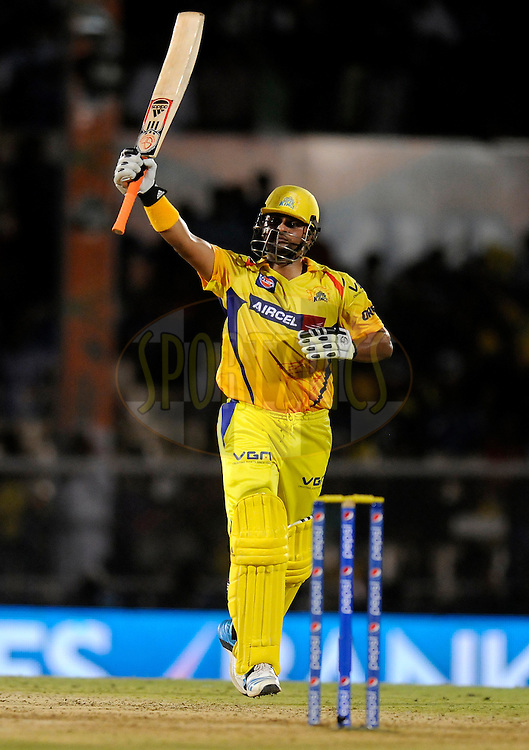 Suresh Raina of The Chennai Superkings celebrates after scoring a half century during the eliminator match of the Pepsi Indian Premier League Season 2014 between the Chennai Superkings and the Mumbai Indians held at the Brabourne Stadium, Mumbai, India on the 28th May  2014<br /> <br /> Photo by Pal PIllai / IPL / SPORTZPICS<br /> <br /> <br /> <br /> Image use subject to terms and conditions which can be found here:  http://sportzpics.photoshelter.com/gallery/Pepsi-IPL-Image-terms-and-conditions/G00004VW1IVJ.gB0/C0000TScjhBM6ikg