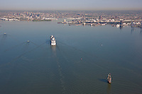 Aerial photoraph of Baltimore City with Cruise ship and tall ship approaching