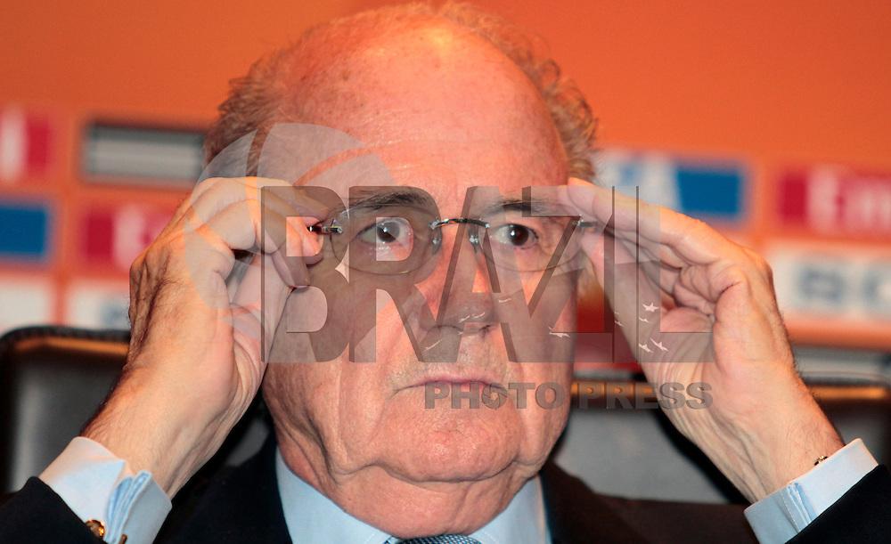 FRANKFURT, ALEMANHA, 16 DE JULHO DE 2011 - COLETIVA JOSEPH BLATTER - Joseph Blatter, presidente da Fifa, durante coletiva de encerramento Copa do Mundo Fifa de Futebol Feminino, neste sábado 16 no Hotel Westin Grand na cidade de Frankfurt na Alemanha. (FOTO: VANESSA CARVALHO - NEWS FREE).