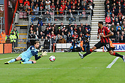 Tim Krul (1) of Norwich City makes a save as Callum Wilson (13) of AFC Bournemouth closes in during the Premier League match between Bournemouth and Norwich City at the Vitality Stadium, Bournemouth, England on 19 October 2019.