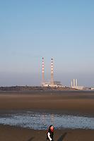 Sandymount Strand towards Ringsend power station in Dublin Ireland