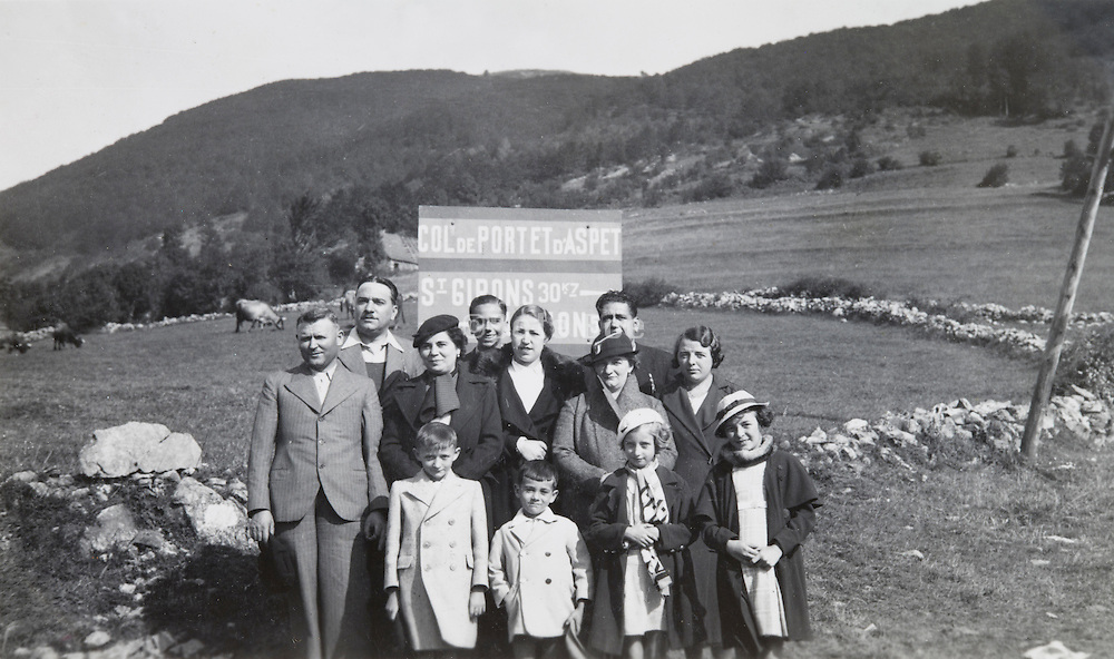 large family posing for holiday photo Col de Portet d'Aspet, France France