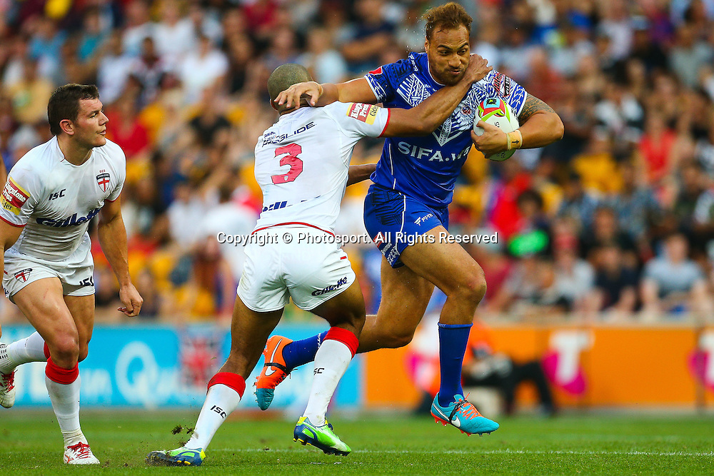 Sam Tagataese during the Four Nations test match between England and Samoa at Suncorp Stadium,  Brisbane Australia on October 18, 2014.