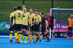 Team Bath Buccaneers celebrate scoring against Bowdon. Bowdon v Team Bath Buccaneers - Now: Pensions Finals Weekend, Lee Valley Hockey & Tennis Centre, London, UK on 11 April 2015. Photo: Simon Parker