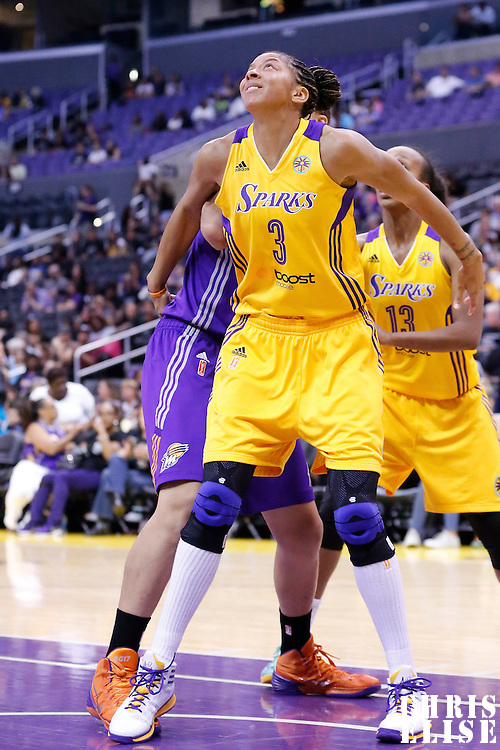 18 May 2014: Los Angeles Sparks forward/center Candace Parker (3) is seen during the Phoenix Mercury 74-69 victory over the Los Angeles Sparks, at the Staples Center, Los Angeles, California, USA.