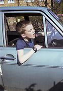 Neville Watson driving a Cortina, High Wycombe, UK, 1980s.