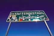 Near Area 51, Extraterrestrial Highway 375 sign north of Rachel, near Warm Springs, Nevada.  1999.