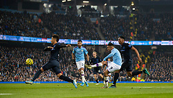 MANCHESTER, ENGLAND - Wednesday, January 1, 2020: Manchester City's Gabriel Jesus scores the first goal during the FA Premier League match between Manchester City FC and Everton FC at the City of Manchester Stadium. Manchester City won 2-1. (Pic by David Rawcliffe/Propaganda)