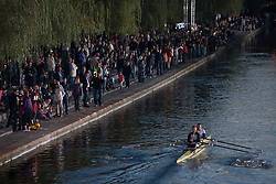 Boat on the river and spectators on the riverbank at farewell of an exceptional athlete Iztok Cop at Ljubljanica river, on September 21, 2012 on river Ljubljanica, Ljubljana Slovenia. (Photo By Matic Klansek Velej / Sportida)