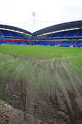 BOLTON, ENGLAND - Saturday, January 26, 2013: Tractor tyre marks cover the pitch after staff removed snow at Bolton Wanderers' Reebok Stadium ahead of the FA Cup 4th Round match against Everton. (Pic by David Rawcliffe/Propaganda)