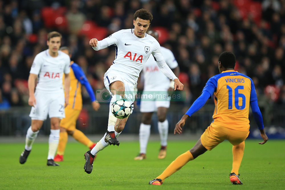 6 December 2017 -  UEFA Champions League (Group H) - Tottenham Hotspur v Apoel Nicosia - Dele Alli of Tottenham Hotspur in action with Vinicius of Apoel Nicosia - Photo: Marc Atkins/Offside
