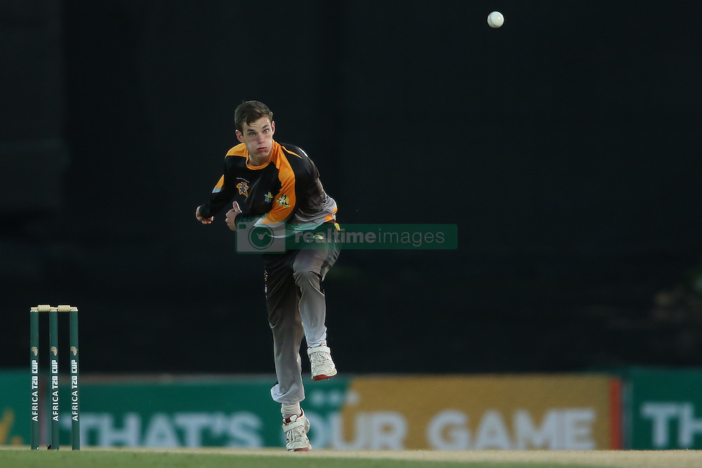 Kyle Simmonds of Boland sends down a delivery during the Africa T20 cup pool D match between Boland and Eastern Province held at the Boland Park cricket ground in Paarl on the 24th September 2016.<br /> <br /> Photo by: Shaun Roy/ RealTime Images