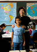Para de Minas_MG, Brasil...Professora com um garoto com deficiencia visual na Escola Estadual Professor Pereira da Costa...The teacher with a boy with visual disability in the school Estadual Professor Pereira da Costa...Foto: LEO DRUMOND / NITRO