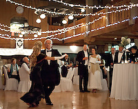 "Robin Barnes in a vintage 1912 dress dances with Maurice Montminy  to ""When I Lost You"" during the Winnipesaukee Playhouse event ""A Night Aboard the Titanic"" at Gunstock.   (Karen Bobotas/for the Laconia Daily Sun)"